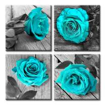 JiazuGo- Rose Wall Art for Bedroom Valentine's Day Teal Blue Floral Flower Black White Oil Painting Printed on Canvas Artwork Pictures Ready to Hang 24x24inx4