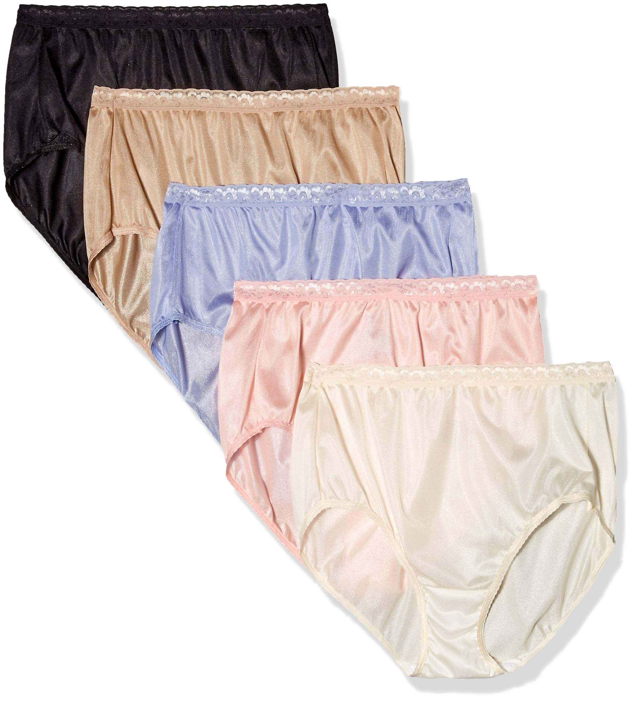 JUST MY SIZE Women's Plus Size Brief with Wicking 5-Pack