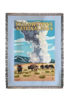 Lantern Press Yellowstone National Park, Wyoming - Old Faithful Geyser and Bison Herd 48332 (60x80 Woven Chenille Yarn Blanket)