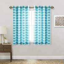 Hiasan Buffalo Plaid Sheer Curtains - Light Filtering Voile CheckeTurquoise Curtains for Living Room and Bedroom, 52 X 45 Inches Long, Set of 2 Window Curtain Panels, Turquoise and White