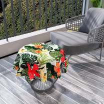 """Small Round Tablecloth, Hawaiian Summer Aloha Pattern with Tropical Plants and Hibiscus Flowers,Green Dark Teal Orange Diameter 36"""" Overlays Round Table Cloth for Family Dinners, Indoor Outdoor Events"""
