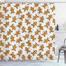 """Ambesonne Gingerbread Man Shower Curtain, Traditional Christmas Cookie Pattern Tile, Cloth Fabric Bathroom Decor Set with Hooks, 75"""" Long, Light Caramel"""