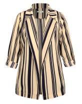 Michel Womens Open Front Blazer Casual 3/4 Roll UP Sleeve Cardigan Blazer