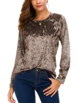 Women's Vintage Velvet T-Shirt Casual Long Sleeve Top