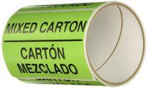 "TapeCase Shipping Packing Labels ""Mixed Carton / Carton Mezclado"", Neon Green - 50 labels per roll (1 Roll)"
