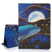 """Hepix Cute iPad Air 2 Case Big Whale Swiming in The Sea iPad Case 9.7"""" Gold Star iPad 6th Gen Case, Multi-Angles Stand with Auto Sleep Wake for Teens"""