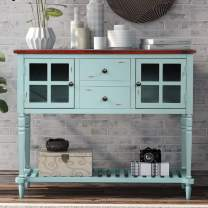 P PURLOVE Console Table Ancent Buffet Table Sideboard Console Table Rustic Tables with Two Storage Drawers Two Cabinets and Bottom Shelf for Living Room and Entryway (Antique Blue)