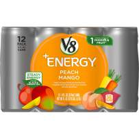 V8 +Energy, Healthy Energy Drink, Natural Energy from Tea, Peach Mango, 8 Fl Oz Can, 12 Count (Pack of 1)