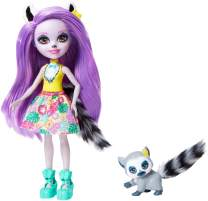 Enchantimals Larissa Lemur Doll & Ringlet Figure, 6-inch Small Doll, with Long Purple Hair, Animal Ears and Tail, Removable Skirt and Shoes, Gift for 3 to 8 Year Olds [Amazon Exclusive]