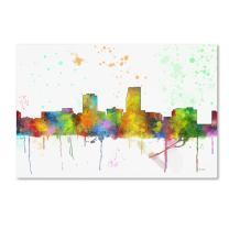 Omaha Nebraska Skyline Mclr-1 by Marlene Watson, 30x47-Inch Canvas Wall Art