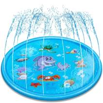 AIMEDYOU Splash Play Mat 68 inch Large Size Inflatable Sprinkler Pad for Kids Toddlers Summer Outdoor Water Toys Wading Pool Fun Backyard Play Mats for Boys Girls Children Infants