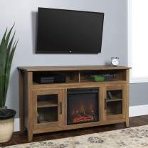 """Walker Edison Rustic Wood and Glass Tall Fireplace TV Stand for TV's up to 64""""Flat Screen Living Room Storage Cabinet Doors and Shelves Entertainment Center Reclaimed Barnwood58 Inch"""