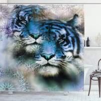 "Ambesonne Animal Shower Curtain, 2 Tiger Safari Cat Wild Furious Life Big Animals Artwork Print, Cloth Fabric Bathroom Decor Set with Hooks, 75"" Long, White Black"