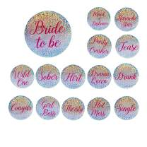 15-Pack Bridal Party Pins - Funny Bachelorette Party Supplies, Bride to Be and Bridesmaids Pinback Buttons, Holographic Glitter Bachelorette Pins, Fun Bridal Gifts and Party Favors