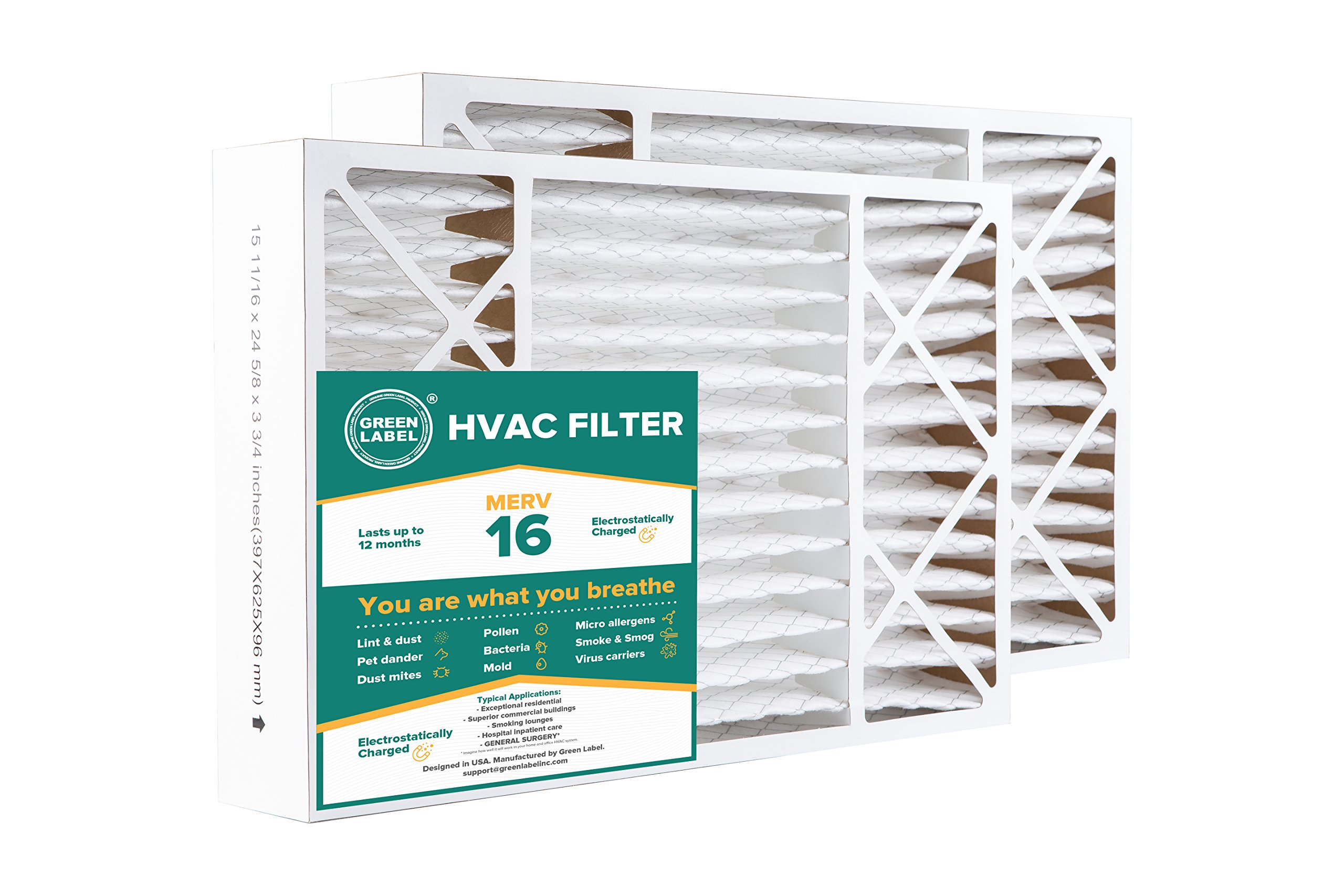 Green Label HVAC Air Filter 16x25x4, AC Furnace Air Ultra Cleaning Filter MERV 16 - Pack of 2