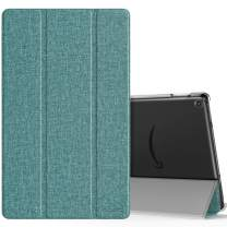 MoKo Case Fits All-New Fire HD 10 (7th Generation and 9th Generation, 2017 and 2019 Release), Smart Shell Stand Cover with Translucent Frosted Back for Fire HD 10.1 Inch - Denim Green