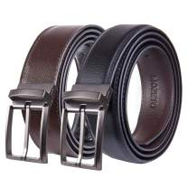 MOZETO Men's Reversible Leather Belt, Genuine Leather Belts For Men Dress Casual Golf Belt with Rotated Buckle Gift Box