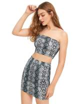 Floerns Women's Snake Print Sexy Bandeau Crop Top and Skirt Two Piece Set
