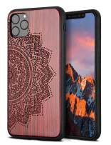 YFWOOD Compatible for iPhone 11 Pro Case 5.8 inch, Unique Wood Shockproof Drop Proof Bumper Protection Cover for iPhone 11 Pro (Flower)