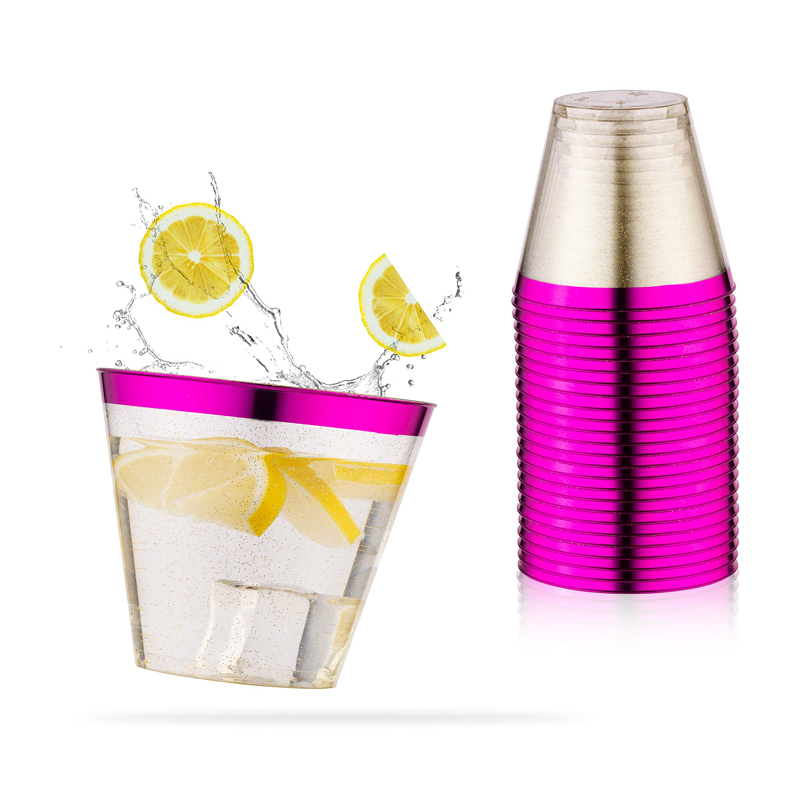 Semper-KIK Purple Disposable Cups. 9 oz Glitter Plastic Cups (Set of 100) with Shiny Purple Trim - Purple Party Supplies for Wedding Cups, Under the Sea, Mermaid Decorations, Baby Shower