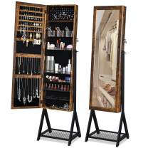 YITAHOME Jewelry Armoire Organizer Free Standing Lockable Jewelry Cabinet with Metal Mesh Shelf, Full-Length Mirror, Large Capacity, Gift for Wife/Daughter/Mother