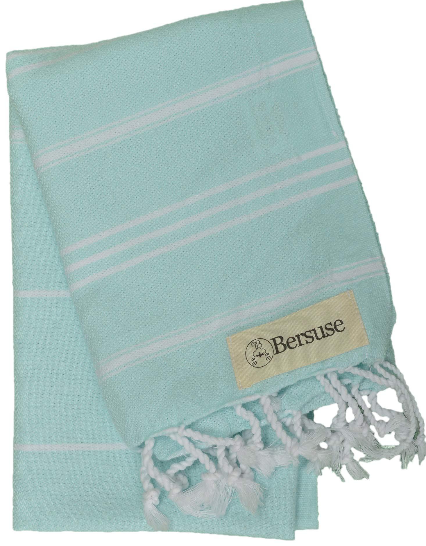 Bersuse 100% Cotton - Anatolia Hand Turkish Towel Pestemal - Baby Care Kitchen Tea Dish Washcloth - Travel Gym Head Hair Face Peshtemal - Classic Striped - 22X35 Inches, Aqua Marine