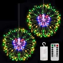 LED String Lights, Starburst Firework Light 8 Modes Dimmable with Remote Control, Battery Operated Hanging Fairy Lights with 198 LED, Decorative Wire Lights for Christmas (Muiltcolor-2 Pack)