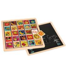 B. Toys – Magnetic Alphabetic - Double-Sided 2-in-1 Magnetic Alphabet Puzzle Board with Chalkboard – Classic Wooden Alphabet Puzzle Board – Learning Toys for Toddlers with 26Piece