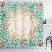 """Ambesonne Moroccan Shower Curtain, Ottoman Mosaic Art Pattern with Oriental Floral Forms Antique Scroll Ceramic Boho, Cloth Fabric Bathroom Decor Set with Hooks, 75"""" Long, Cream Turquoise"""