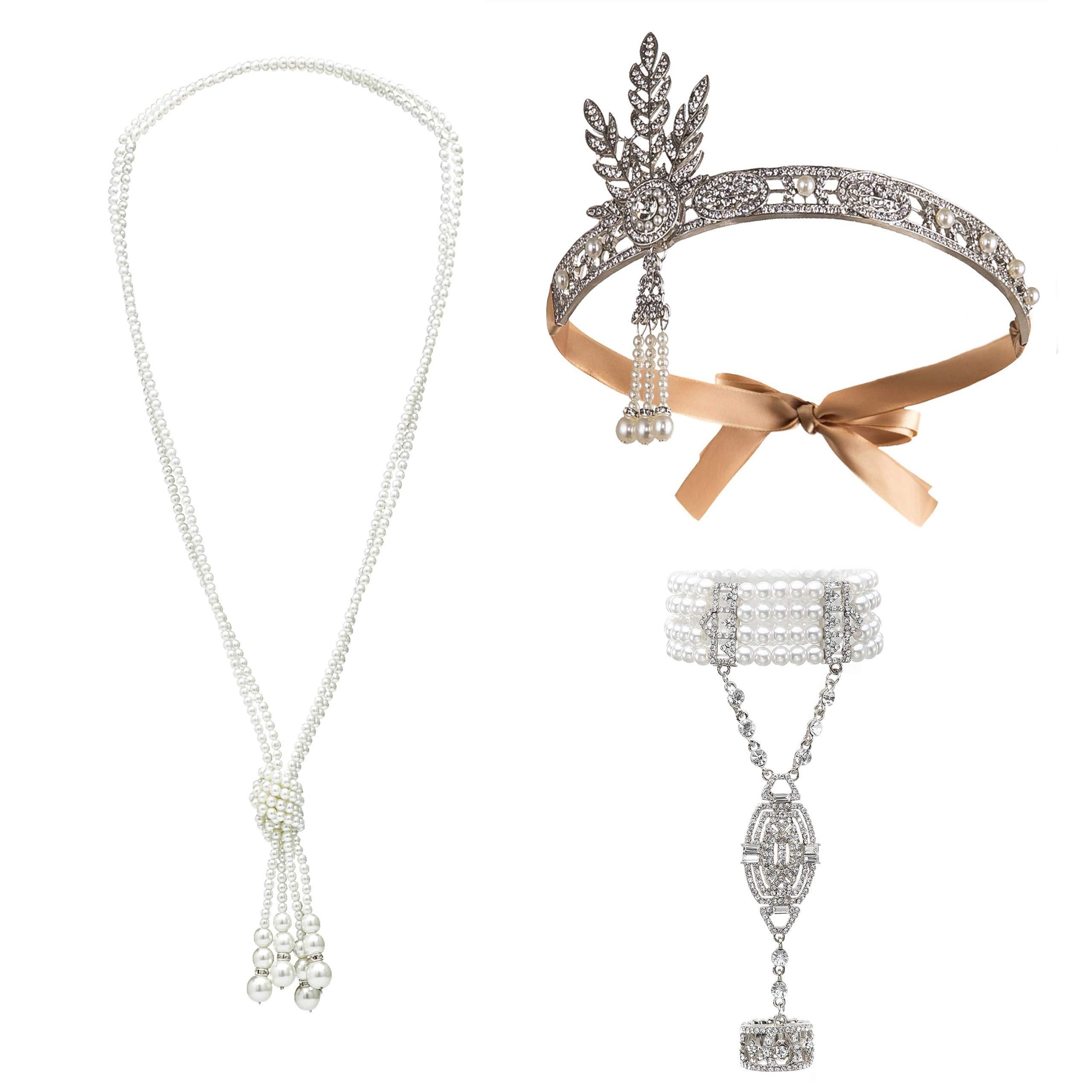Radtengle Great Gatsby Accessories Set for Women 1920s Flapper Necklace Headband Bracelets Costume Jewelry