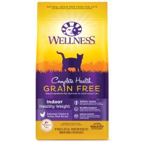 Wellness Complete Health Grain Free Natural Dry Cat Food, Indoor Healthy Weight Chicken Recipe, 5.5-Pound Bag