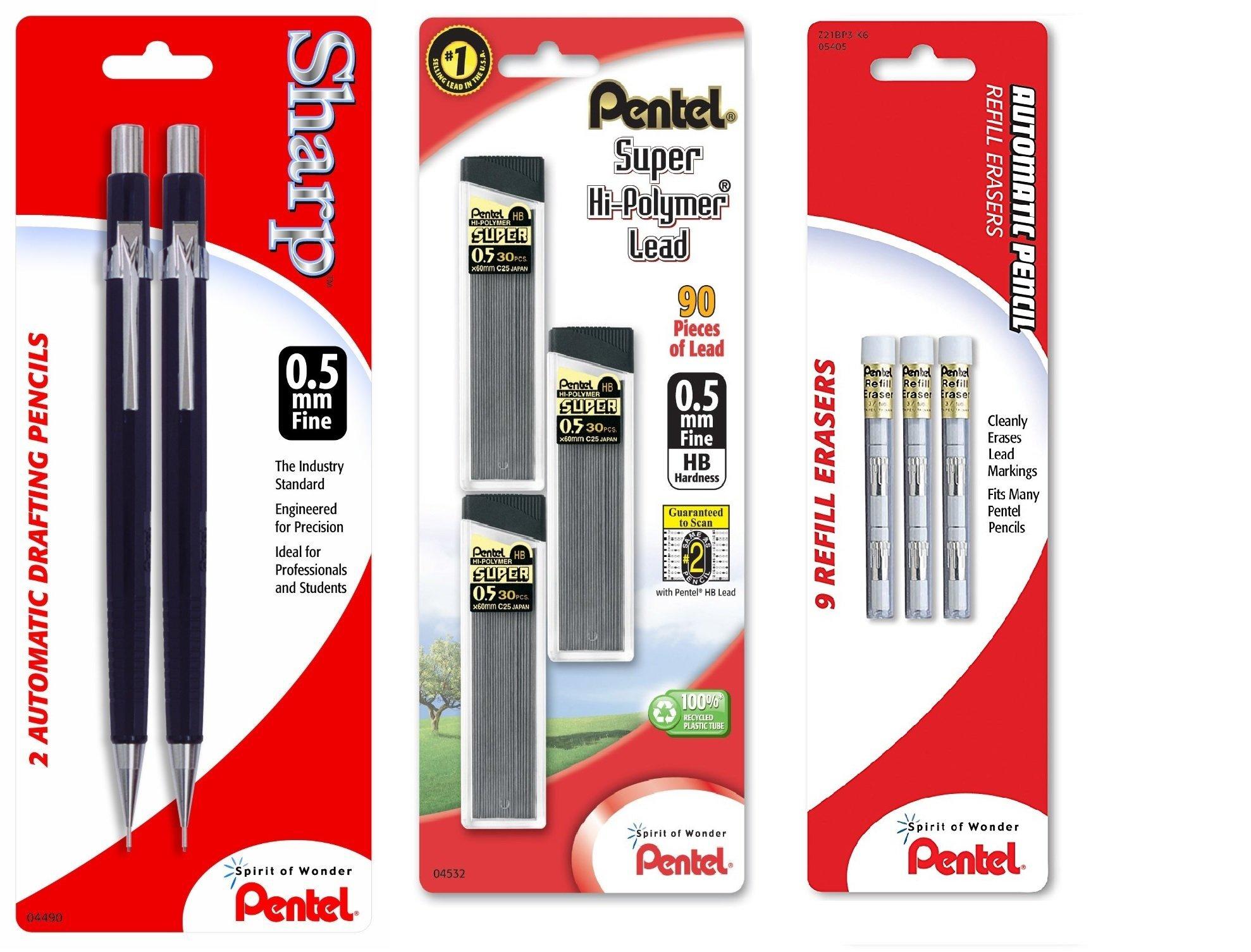 Pentel Sharp Automatic Pencil, 0.5mm, Black Barrels (3)