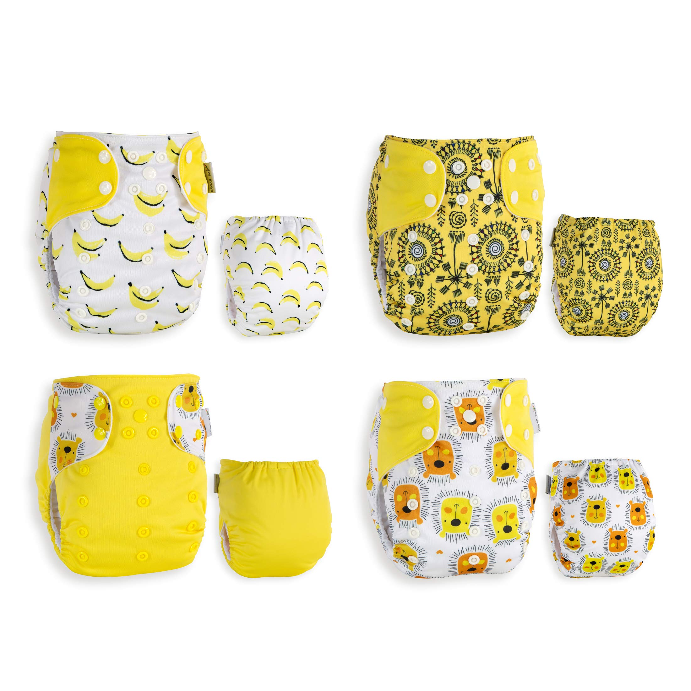 KaWaii Baby Pack of 4 One Size Cloth Diapers + 8 Premium (5-layered) Bamboo Inserts 8-36 lbs (Banana Smile)