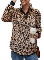 TOPUSH Women's High Neck Lightweight Long Sleeve Top Button Up Pullover Sweatshirts