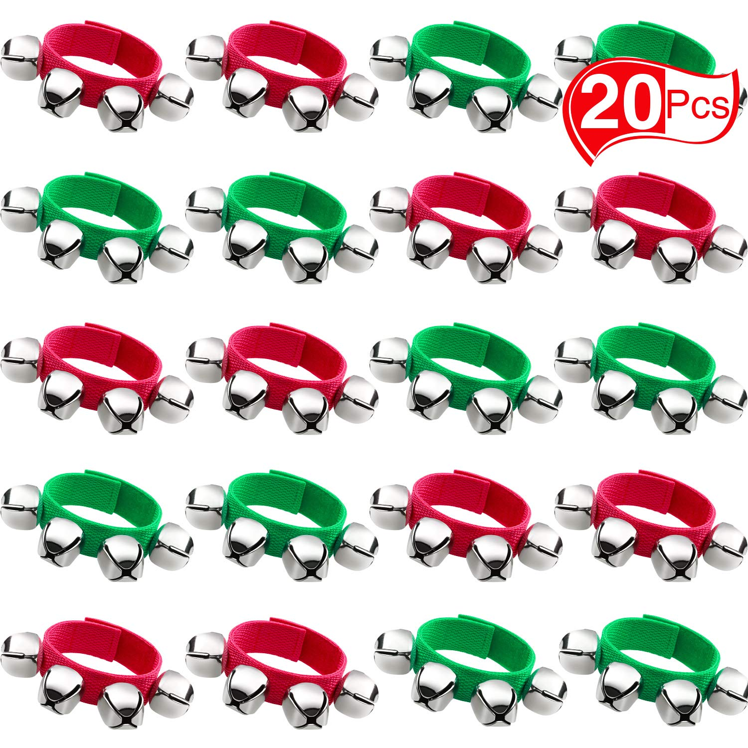 Band Wrist Bells Bracelets Jingle Musical Ankle Bells Rhythm Toys Instrument Percussion Party Favors for Christmas School Children Kids (20 Pieces, Red and Green)