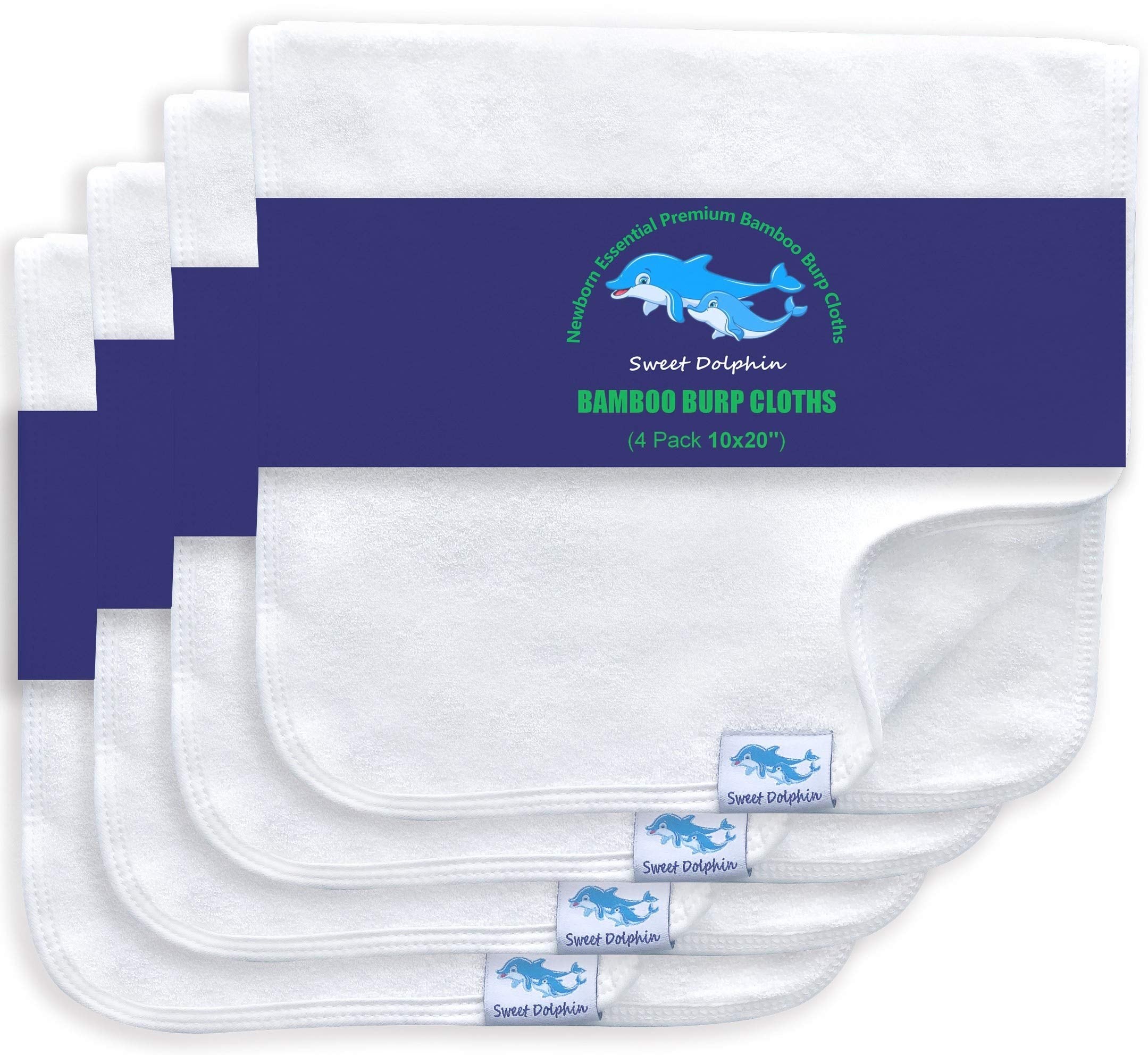 Organic Bamboo Burp Cloths 4 Pack Large 100% Bamboo Washcloths Double Layered Burping Cloths - Extra Absorbent and Soft Hand Washcloths - Milk Spit Up Rags - Burpy Bib for Unisex (White)