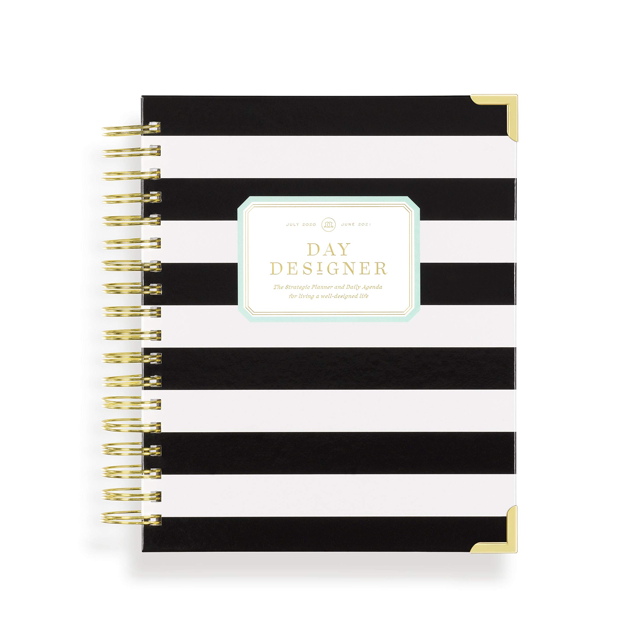 """Day Designer 2020-2021 Academic Year Daily Life Planner and Agenda, Hardcover, Twin-Wire Binding, 9"""" x 9.75"""", Black Stripe"""