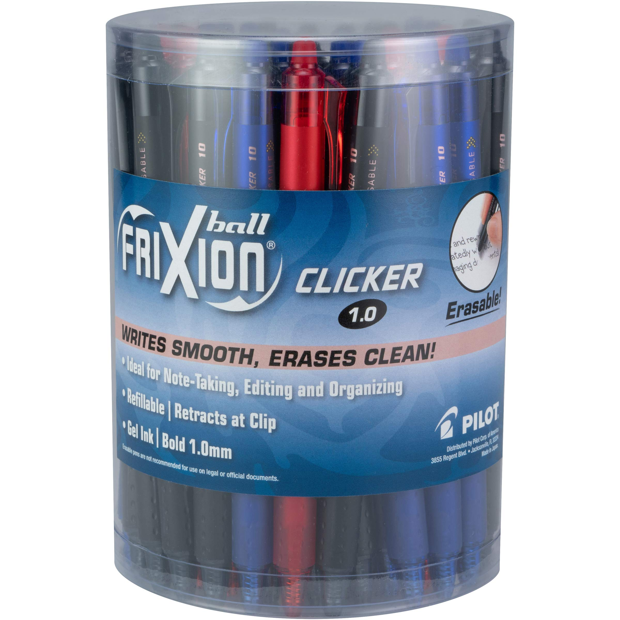 PILOT FriXion Clicker Erasable, Refillable & Retractable Gel Ink Pens, Bold Point, Assorted Color Inks, Tub of 36 (8029)
