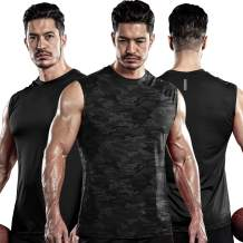DRSKIN Men's 3 Pack Quick Dry Muscle Loose Fit Tank Tops Sleeveless Gym Fitness Cool Athletic Workout Running Shirt