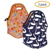ANLOMI Insulated Neoprene Lunch Bag - Reusable Thermal Lunch Bag with Zipper Water Resistant Soft Lunch Tote Food Holder for School Office Outdoor, Boy Girl Men Women Kids Adult Handbags. (Swan+Sweet)