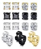 Besteel 9 Pairs 316L Stainless Steel Magnetic Stud Earrings for Men Women CZ Non-Piercing Clip On Hypoallergenic Earrings Set 6mm-10mm