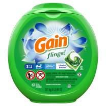 Gain Flings! Liquid Laundry Detergent Pacs, Blissful Breeze, 81 Count