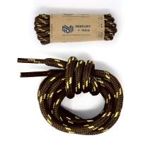 Honey Badger Work Boot Laces Heavy Duty W/Kevlar - USA Made Round Shoelaces for Boots - Brown Nat