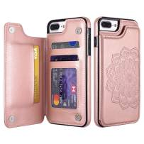 UEEBAI Case for iPhone 6 Plus iPhone 6S Plus,Luxury PU Leather Case [Two Magnetic Clasp] [Card Slots] Stand Function Embossed Mandala Pattern Half Flower Durable Soft TPU Back Wallet Cover -Rose Gold