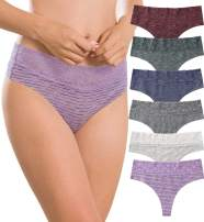 Women's Thongs Underwear Cotton Seamless Thongs for Women Lace Trim Panties