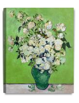 DECORARTS - Pink Roses in a Vase, Vincent Van Gogh Art Reproduction. Giclee Canvas Prints Wall Art for Home Decor 20x16