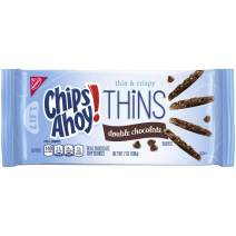 Chips Ahoy! Thins Double-Chocolate Chocolate Chip Cookies, 7 Ounce (Pack of 12)