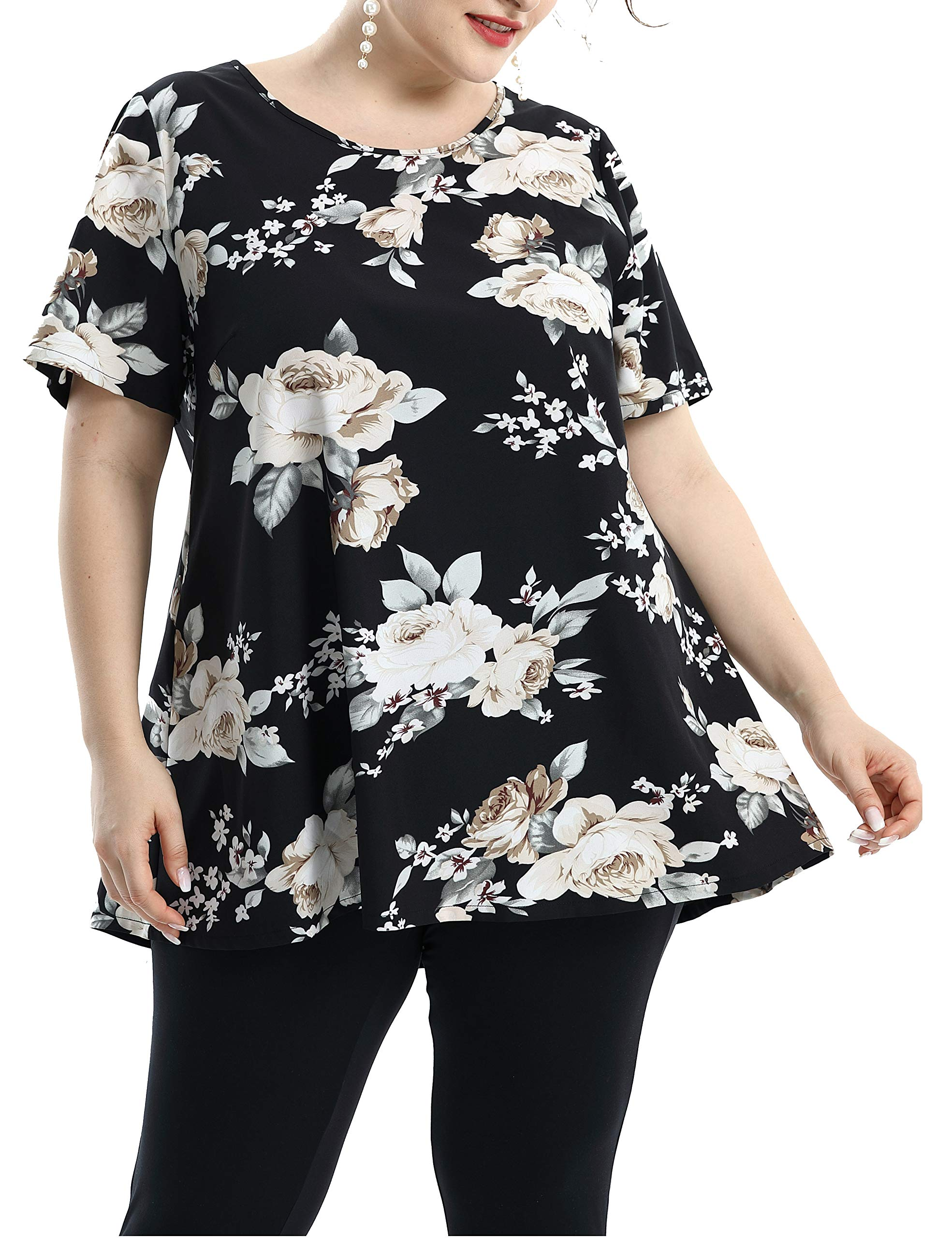Shiaili Flowy Plus Size Blouses for Women Peony Floral Shirt Short Sleeve Summer Tops