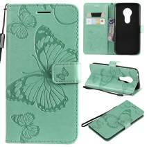 Cmeka 3D Butterfly Wallet Case for Motorola Moto G7 Power(Not Fit Moto G7) Slim Flip Leather Protective Case,Magnetic Closure,Credit Card Slots Holder,Kickstand Function Mint Green
