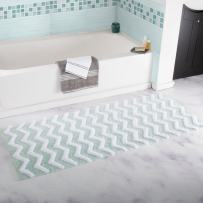 Lavish Home 100% Cotton Chevron Bathroom Mat - 24x60 inches - Seafoam